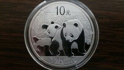 Uncirculated 2010 China Silver Panda 1 oz 999 Chinese 10 Yuan coin in capsule