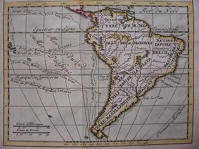 1730 - After DELISLE - Small map SOUTH AMERICA