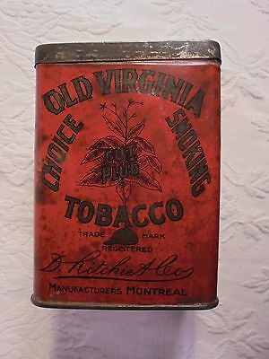 Antique Old Virginia Tobacco Tin Ritchiet Co Red With Gold Text And Black Design