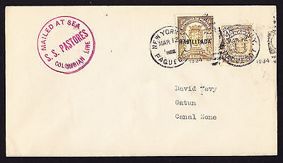 1934 Panama stamps on SS Pastores Ship Colombian Line Mailed at Sea Canal Zone