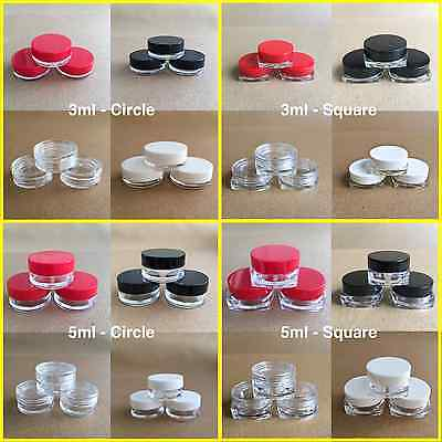 5x - 100x CIRCLE & SQUARE 3ml & 5ml SCREW TOP JAR POT CONTAINER CRAFT NAILS FAST