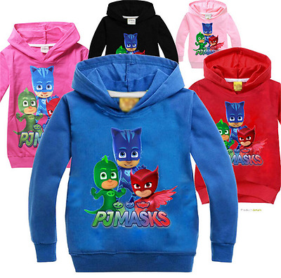 Hot Kids Girls Boys Long Sleeve PJ Masks Hoodies Casual Cartoon Top Clothes 3-7Y