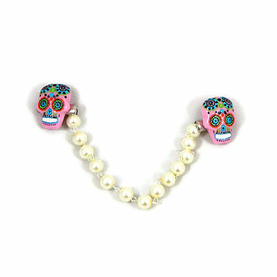 Retro Sweater Clip Pink Sugar Skull with Ivory Pearls, Rockabilly Sweater Guard