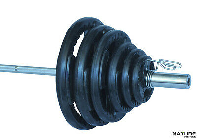 Nature Fitness Olympic Barbell & Weight 95kg Set Rubber Coated Plates