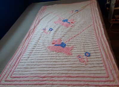 Scotty Scottie Dog Running Pastel Chenille Twin Bed Cover