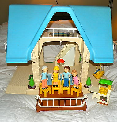 Vintage Little Tikes Blue Roof House & Family with Chairs