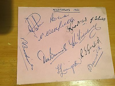 1950 Northamptonshire album Page signed x 11 Brookes garlick Nutter oldfield etc