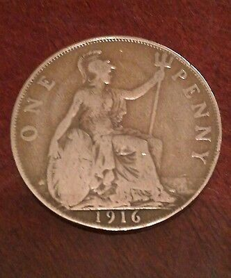 One Penny 1916 british coin