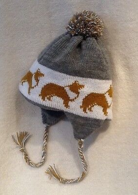 ROUGH COLLIE dog NEW Knitted  lined GREY ADULT  SIZE TRAPPER EAR FLAP HAT