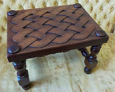 Antique TRYON 1920-30 Hand Crafted Carved Wooden Foot Stool North Carolina