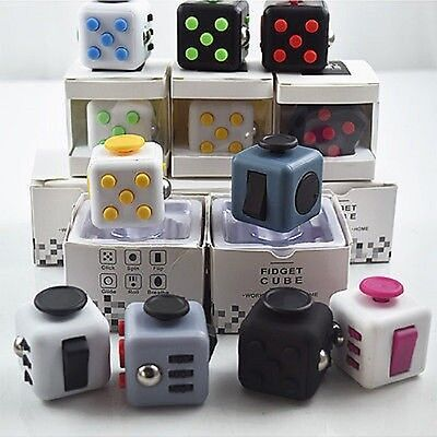 Fiddle Cube Children Vinyl Desk Toy Adults Stress Relief Cubes Toy Gift UK