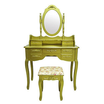 New Gold Retro Dressing Table Vanity Makeup Desk 7 Drawers Mirror Free Stool UK