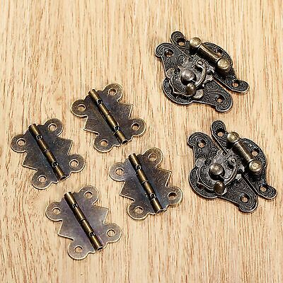 Antique Jewelry Box Cabinet Suitcase Latch Hasp & Butterfly Hinges Hardware Kit