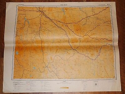 Authentic Soviet Russian Military Topographic Map El Paso, Texas USA / MEXICO