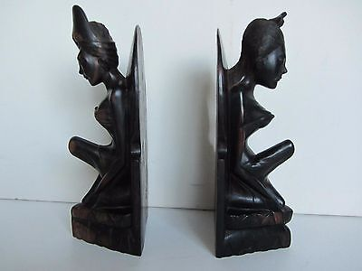 A Pair of Large Vintage Eastern Hardwood Female Figural Bookends