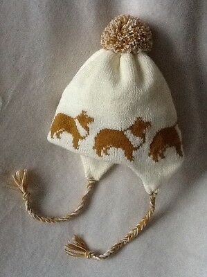 ROUGH COLLIE dog  Knitted  lined CREAM ADULT  SIZE TRAPPER EAR FLAP HAT