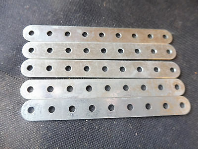 Meccano 5 Zinc 4.5 inch Perforated Strips No 2a