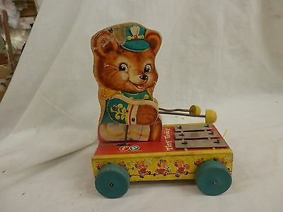 Vintage Fisher Price 1962 Tiny Teddy Xylophone wooden original Pull Toy