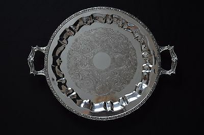 "Glastonbury Silver Plate  Round Serving Tray With Handles 14 1/4"" Diameter"