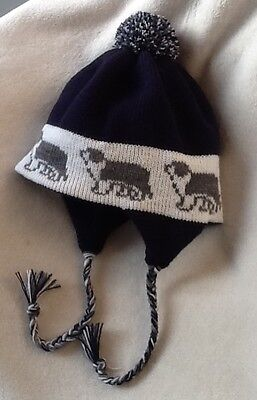 BEARDED COLLIE GREY & WHITE dog knitted  NAVY BLUE ADULT TRAPPER EAR FLAP HAT