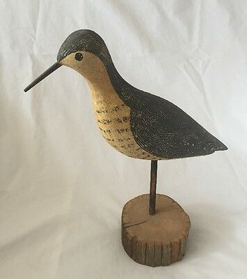 Vintage Decoy Shorebird RICHARD MORGAN Hand Carved Wood Folk Art Bird