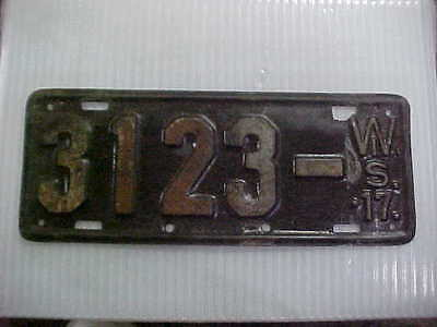 1917 Wisconsin License Plate Original Paint & Condition