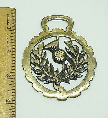 Brass Horse Medallion Flower Marked England Saddle Decor Ornaments Equestrian #2