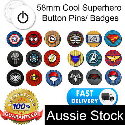 58mm Superhero Button Pins Badge Logo Personalised Marvel DC *Flat rate shipping