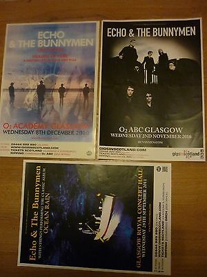 Echo & The Bunnymen - Scottish tour Glasgow concert gig posters x 3