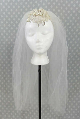 Vtg 60s Short Wedding Veil Headpiece Wired Crown Flower Petals Pearl Drops Lace
