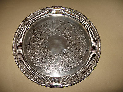 Small Round Silver Plate Serving Tray Sheffield England 8""