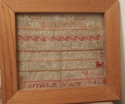 antique 1841 hand embroidered signed Harriet A Ware sampler needlepoint art  old