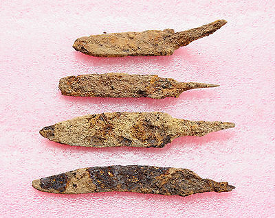 LOT of 4 ANCIENT Medieval KNIFE BLADE ROMAN ARTIFACT - Metal detector Found #
