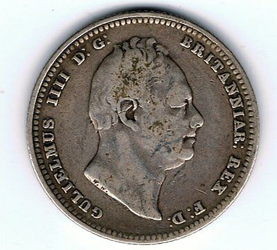 1834 William IV sterling silver one shilling coin - 5.4g