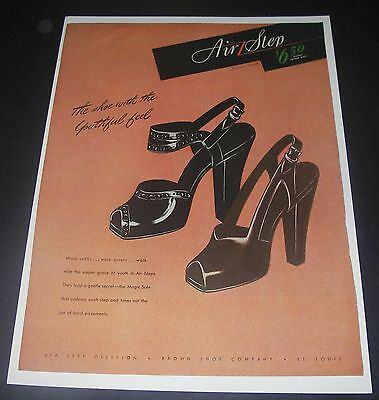 Print Ad 1945 FOOTWEAR Women's Air Step Shoe with the youthful feel Fashion