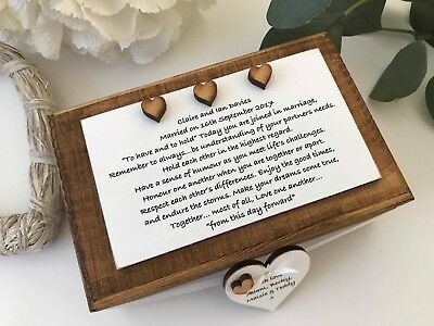 Wedding Personalised Gift Box Keepsake Bride and Groom Wooden  B11