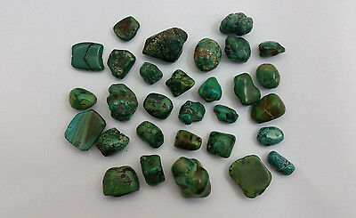 Antique Tibetan Turquoise Stone Bead Lot 30 Beads - 170 Grams - 300+ Years Old -