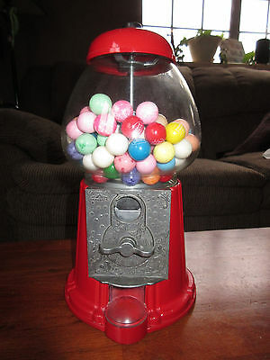 Vintage 1985 Carousel Red Gumball Machine Metal frame / glass glove - works!!