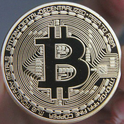 BITCOIN - UK STOCK - 1 Oz 4ct GOLD Plated Bullion Coin - BTC