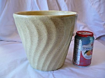"Vintage BAUER Pottery California YELLOW Speckled Swirl Planter  Pot 7"" USA"