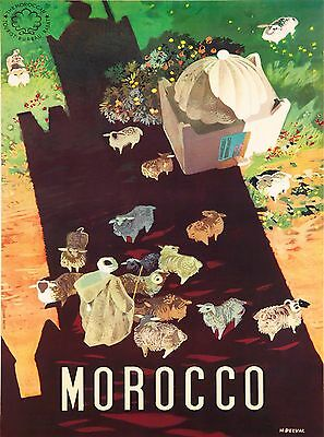 Morocco Sheep Africa African  Vintage Travel Advertisement Art Poster Print