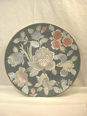 """10"""" Andrea By Sadek Blue Floral Plate With Stand"""