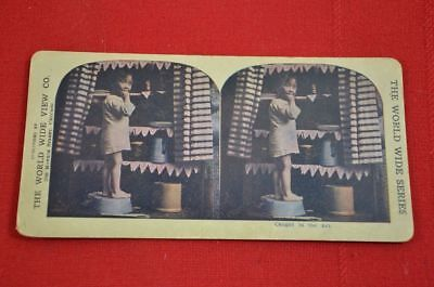Antique Stereoscope Card Caught In The Act Kid in Cupboard Stereoview  #1255