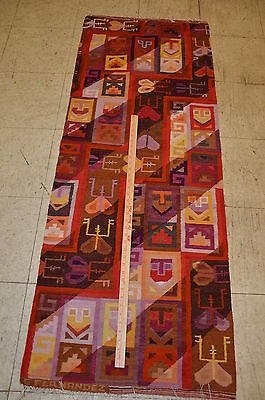 """Woven Wool Tapestry Rug From Peru Red Orange Brown Shades 64"""" x 48"""" #900"""