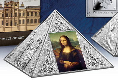 2016 Niue Island $15 3 Oz Silver Proof TEMPLE OF ART Pyramid Shaped Coin