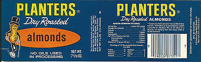 Label-PLANTERS almonds,can.1978 nut.Mr.Peanut.Original vintage= ProductsOverTime