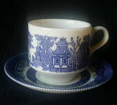 Churchill Blue Willow Large flat cup and saucer
