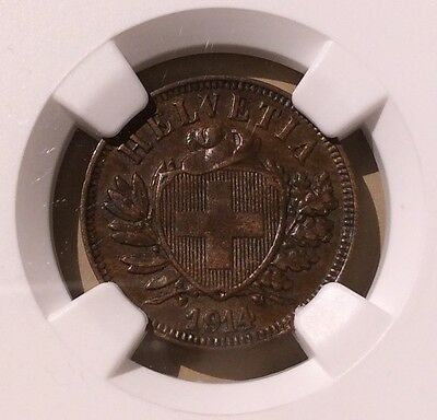 Switzerland 1914 B Two Rappen NGC AU 55 BN