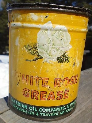 RARE 1947's VINTAGE WHITE ROSE CUP GREASE (1 LB.) CAN