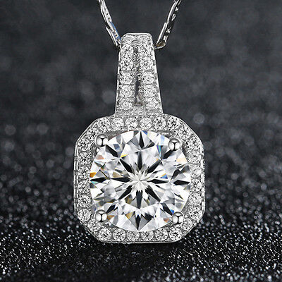 Fashion 925 Sterling Silver White Crystal Pendant Necklace Chain Women's Jewelry